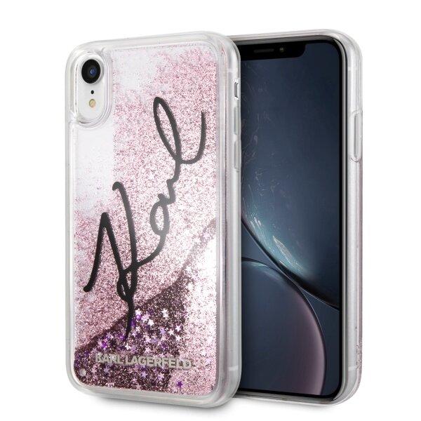 Калъф от Karl Lagerfeld за iPhone XR  hardcase Signature Liquid Glitter Stars - Pink