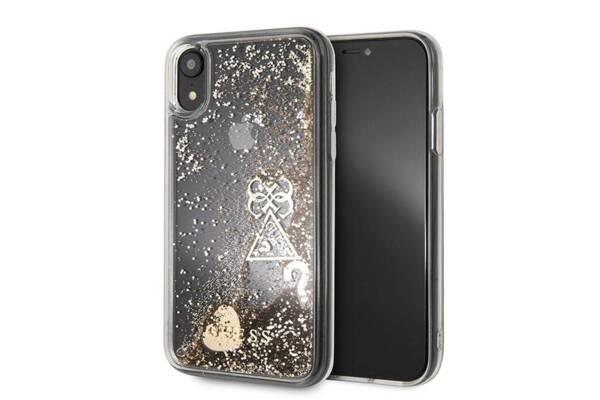 "Калъф Guess ""Hearts"" Glitter Hard Case за iPhone Xr - Gold"