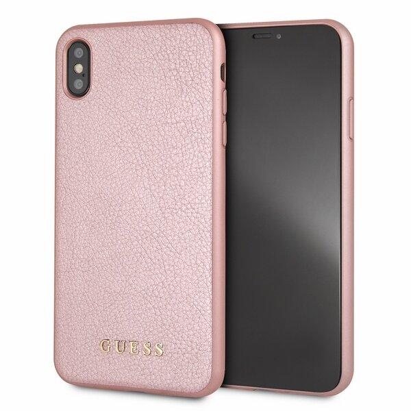 Розово злато кейс Guess PU Leather Hard Case Iridescent Rose Gold за iPhone XS Max