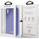 Guess GUHCI65LSGLUV Silicone Gold Logo Case Purple for iPhone XS Max