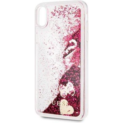 Кейс Guess  Glitter Case Hearts Raspberry за iPhone XS Max