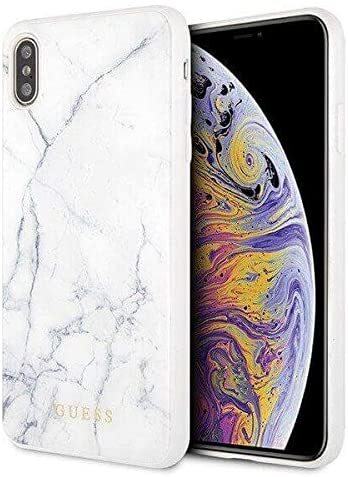 Бял Кейс Guess Hard Case Marble за Iphone XS Max Bialy