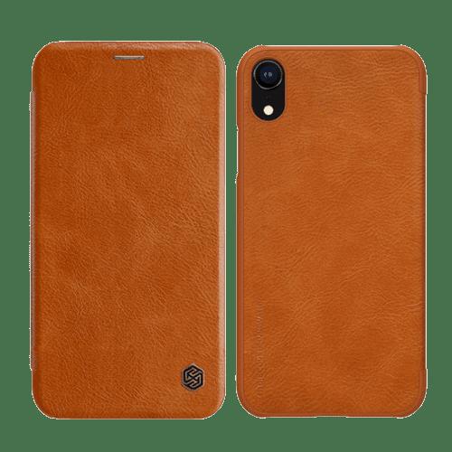 Кафяв кейс Nillkin за iPhone XR Qin Book Case Brown