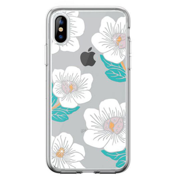 Бял кейс DV FloweringCrystal за iPhonеXs Max
