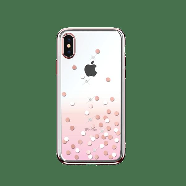 Розов кейс DV Polka Crystal за iPhone Xs Max