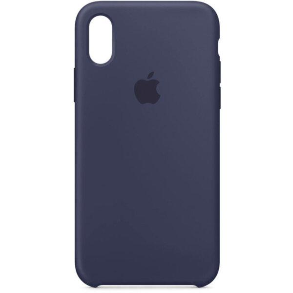 Син силиконов калъф на Apple за iPhone X Silicone Case (Midnight Blue)