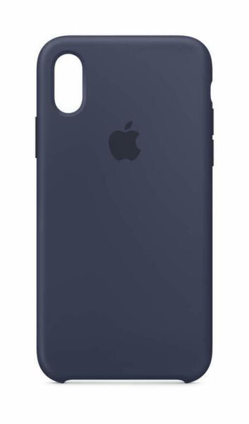 Син силиконов кейс на Apple за iPhone XS / X Silicone Case (Midnight Blue)
