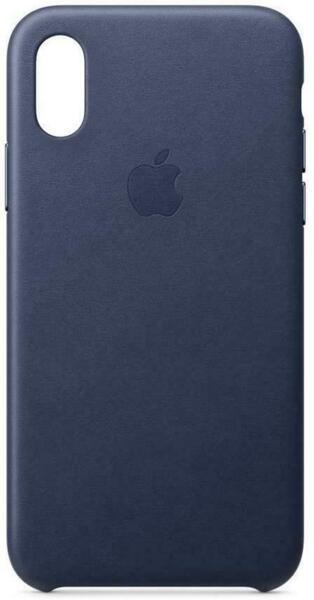 Син Кожен кейс Apple за iPhone XS Leather Case - (Midnight Blue)