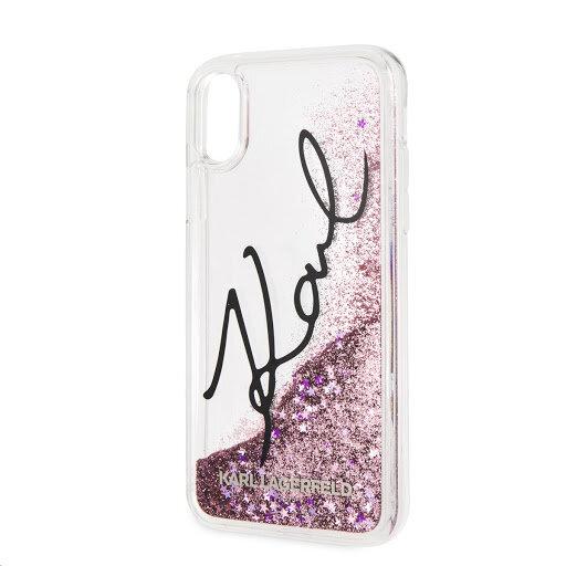 Блестящо Розов кейс Karl Lagerfeld Signature TPU Case Glitter Star Pink за iPhone X