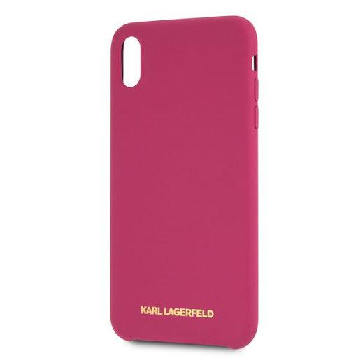 Силиконов Кейс  Karl Lagerfeld Gold Logo Silicone Case Fushia pro за iPhone X/XS