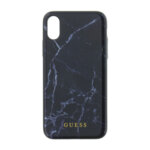 Genuine Guess Marble Hard Back Black Case for iPhone X