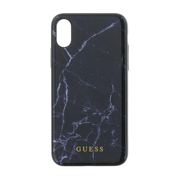 Черен Кейс Genuine Guess Marble Hard Back Black Case за iPhone X