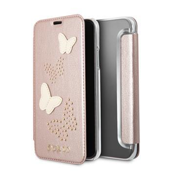 CG Mobile GUFLBKPXPBURG Guess Studs and Sparkle Book Case Rose Gold for iPhone X