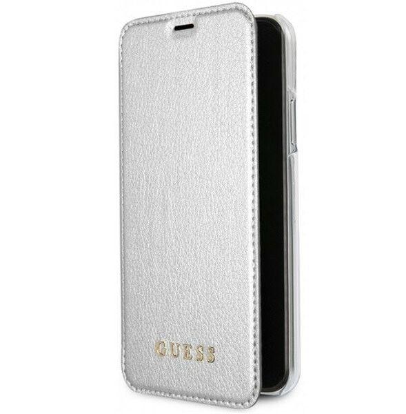 CG Mobile Guess Iridescent Book Case - дизайнерски кожен калъф, тип портфейл за iPhone X (сребрист)