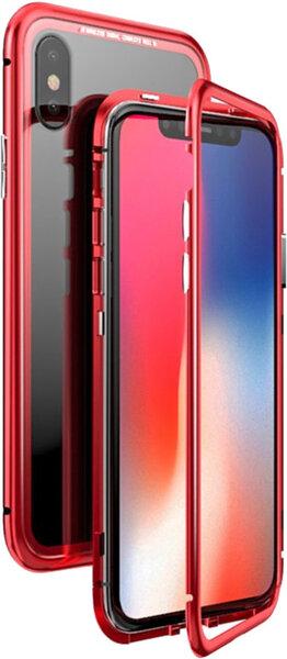 Червен/кристален кейс Luphie Magneto Hard за iPhone X