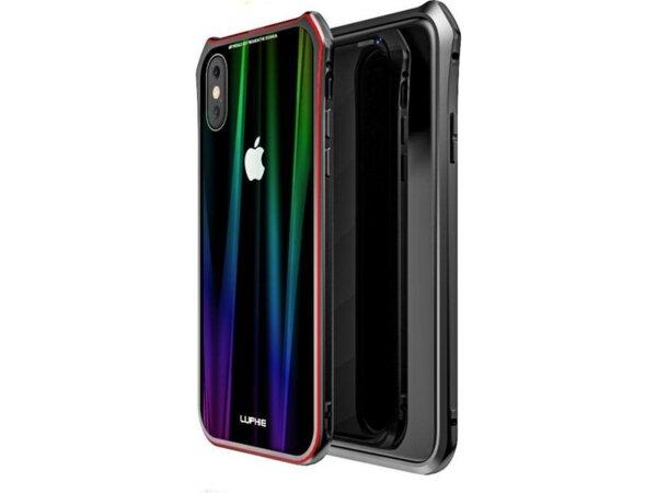 Черен/червен кейс Luphie Aurora Magnet Hard за iPhone X