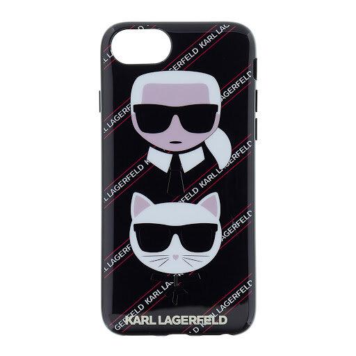 Кейс черен на Karl Lagerfeld Karl Choupette Canvas TPU  за iPhone 7/8