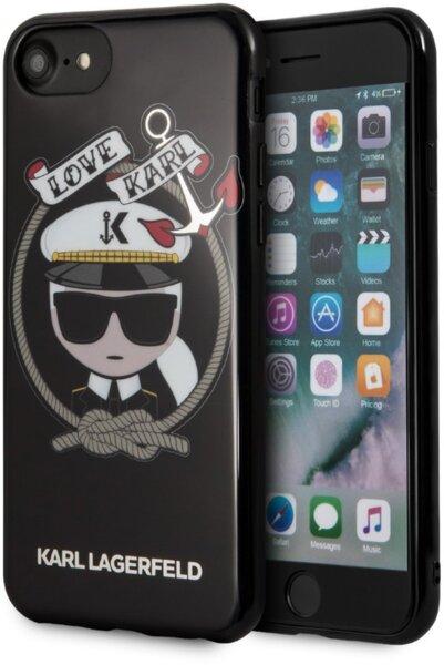 CG Mobile KLHCI8KSB Karl Lagerfeld Karl Sailor TPU Case Black for iPhone 7/8