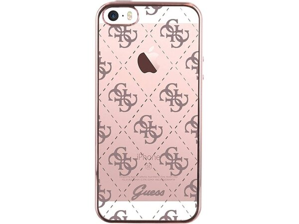 Guess Capa Silicone para Apple iPhone 5/SE Rose Gold