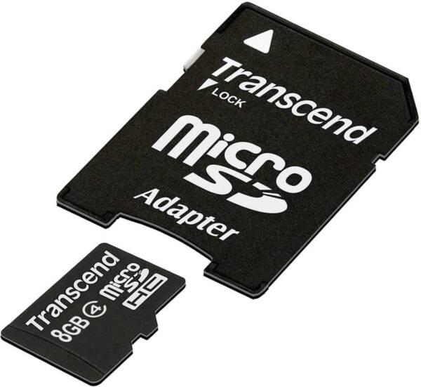 Карта памет 8GB Transcend microSDHC CLASS4 + ADAPTER