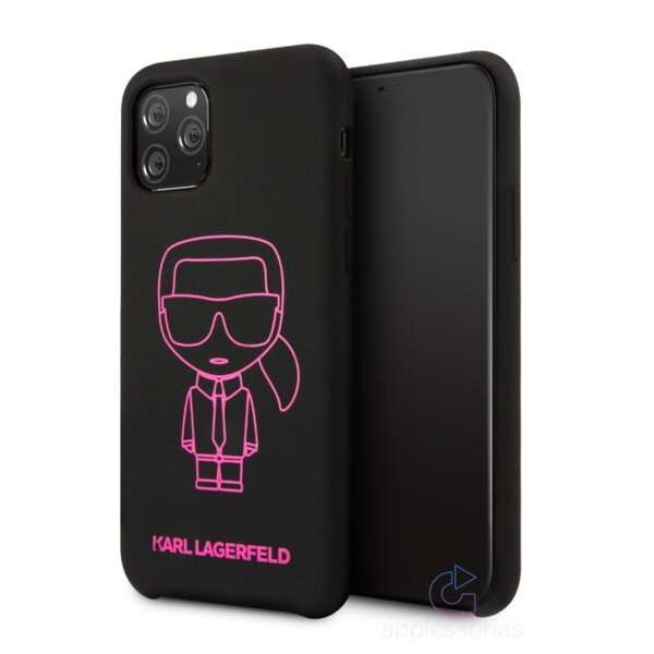 Karl Lagerfeld Silicone Cover for iPhone 11 Pro Pink Out Black
