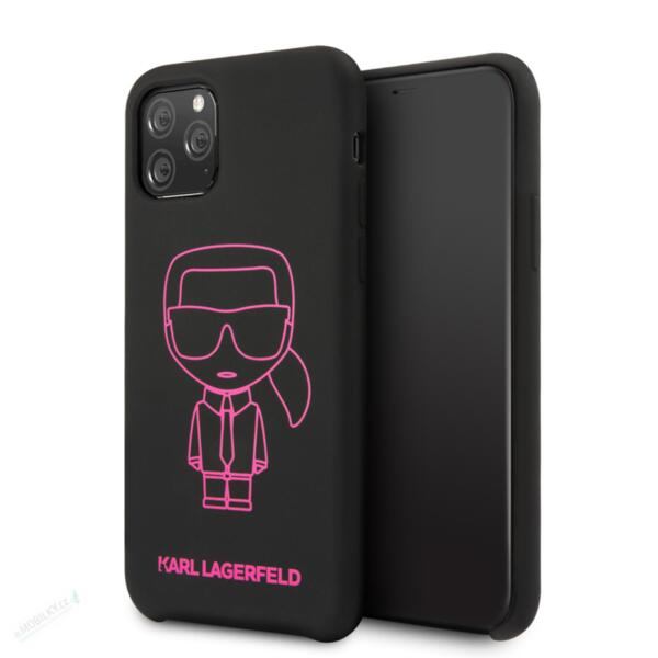 Karl Lagerfeld Silicone Cover for iPhone 11 Pro Max Pink Out Black