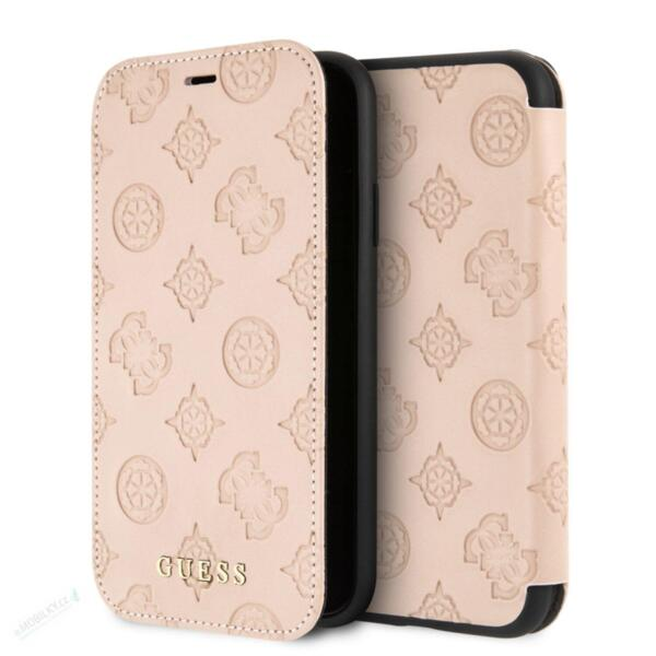 Guess Debossed Peony Book Case for iPhone XR Latte