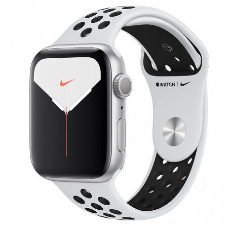Смарт часовник Apple Watch Nike Series 5 GPS, 44mm Silver Aluminium Case with Pure Platinum Black Nike Sport Band