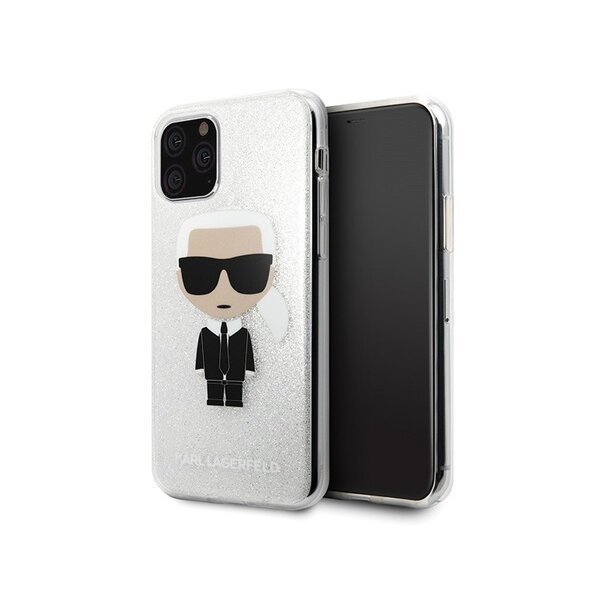 Karl Lagerfeld Glitter Iconic Body Cover for iPhone 11 Pro Silver (EU Blister)