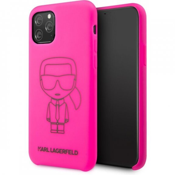 Karl Lagerfeld Silicone Cover for iPhone 11 Pro Black Out Pink