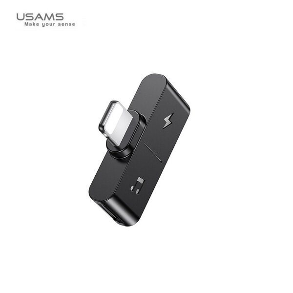 USAMS SJ384 Dual Lightning Charging  Audio Adapter Black (EU Blister)
