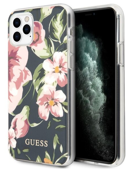 Guess Flower Shiny N.3 Cover iPhone 11 Pro Navy (EU Blister)