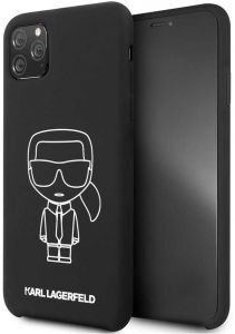 Karl Lagerfeld Ikonik Silicone Case for iPhone 11 Pro - White Outline/Black