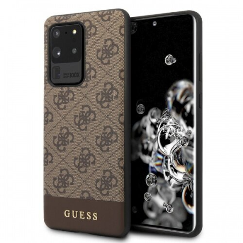 GUHCS69G4GLBR Guess 4G Stripe Cover for Samsung Galaxy S20 Ultra Brown