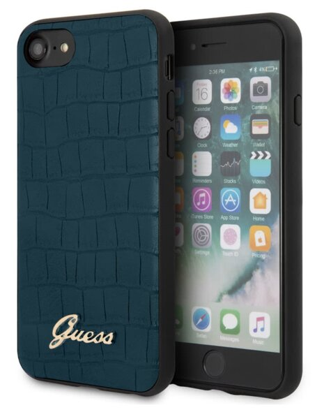 GUHCI8PCUMLCRBL Guess Croco Cover for iPhone 8/SE2020 Blue (EU Blister)