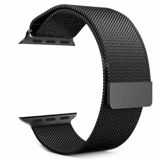 Tactical 333 Loop Magnetic Stainless Steel Band for iWatch 1/2/3 38mm Black