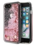 GUHCI8GLHRERG Guess Glitter Floating Hearts Cover for iPhone 8/SE2020 Pink