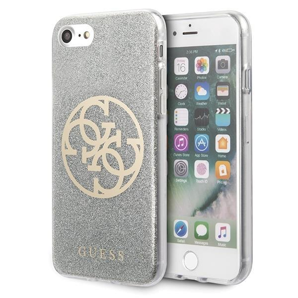 GUHCI8PCUGLLG Guess Glitter 4G Circle Cover for iPhone 8/SE2020 Light Grey