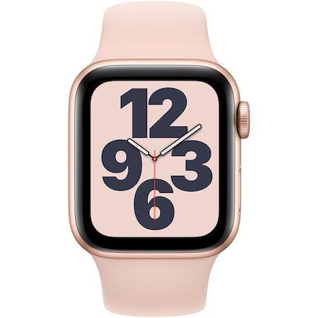 Смарт часовник Apple Watch SE, GPS, Корпус Gold Aluminium 44mm, Pink Sand Sport Band