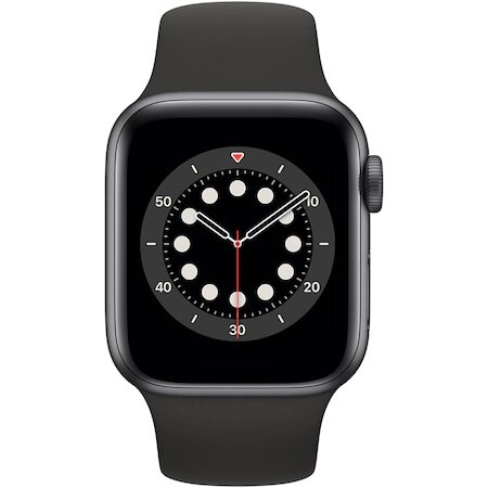 Смарт часовник Apple Watch 6, GPS, Корпус Space Gray Aluminium 44mm, Black Sport Band