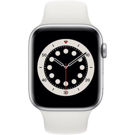 Смарт часовник Apple Watch 6, GPS, Корпус Silver Aluminium 44mm, White Sport Band
