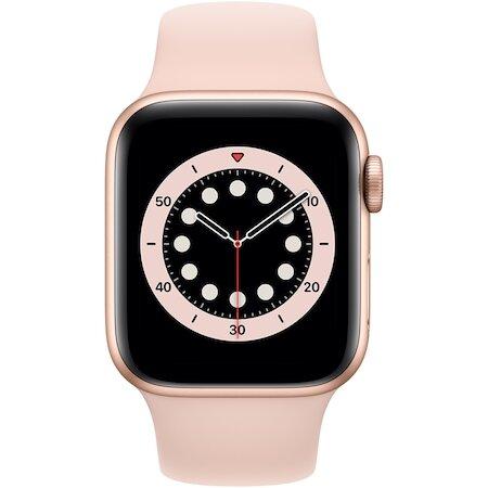 Смарт часовник Apple Watch 6, GPS, Корпус Gold Aluminium 40mm, Pink Sand Sport Band
