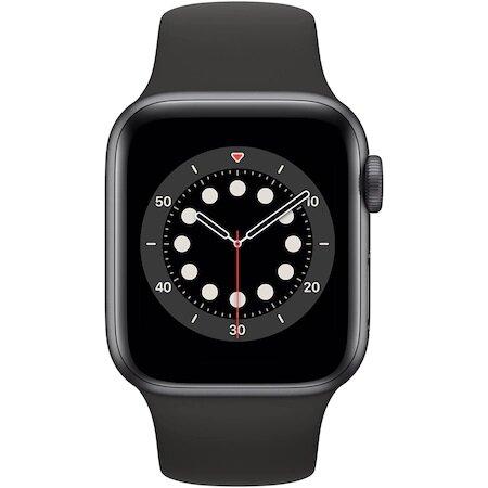 Смарт часовник Apple Watch 6, GPS, Корпус Space Gray Aluminium 40mm, Black Sport Band