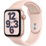 Apple Watch SE GPS, 40mm Gold Aluminium Case with Pink Sand Sport Band - Regular