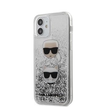 """Калъф от Karl Lagerfeld за iPhone 12 Mini 5,4"""" silver hard case Liquid Glitter Karl Choupette"""