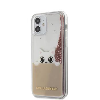 Калъф от Karl Lagerfeld Liquid Glitter Peek a Boo Cover за iPhone 12 mini 5.4 Pink