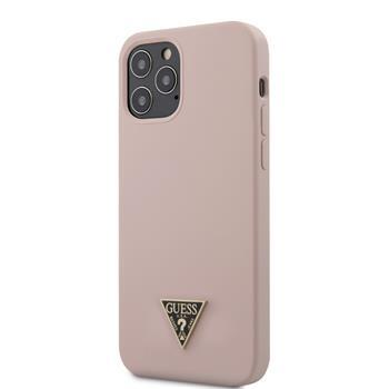 Калъф от Guess Silicone Metal Triangle Cover за iPhone 12/12 Pro 6.1 Light Pink