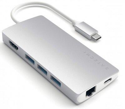 Satechi Aluminium TYPE-C Multi-Port Adapter (HDMI 4K,3x USB 3.0,MicroSD,Ethernet V2) - Silver