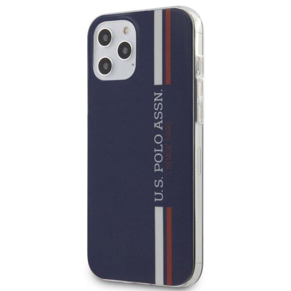 Силиконов Калъф от U.S. Polo с трицветни вертикални ивици Kryt pro за iPhone 12 Pro Max Navy