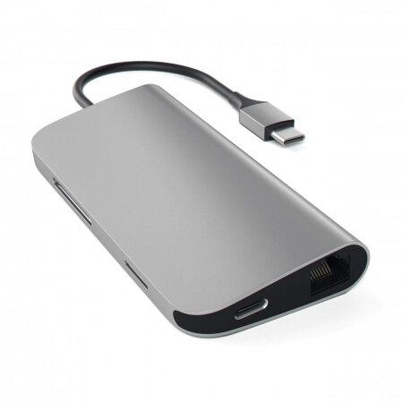 Satechi Aluminium TYPE-C Multi-Port Adapter (HDMI 4K,3x USB 3.0,MicroSD,Ethernet) - Space Grey